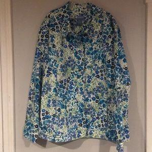 Koret blue floral stretch denim shirt /jacket NWT